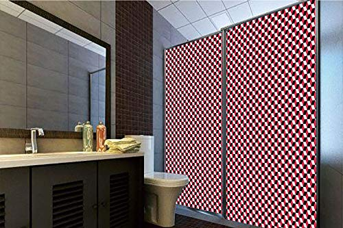 Horrisophie dodo 3D Privacy Window Film No Glue,Abstract,Cubes Three Dimensional Style Optical Illusion Pattern Diagonal Shapes Decorative,Dark Coral Black White,70.86