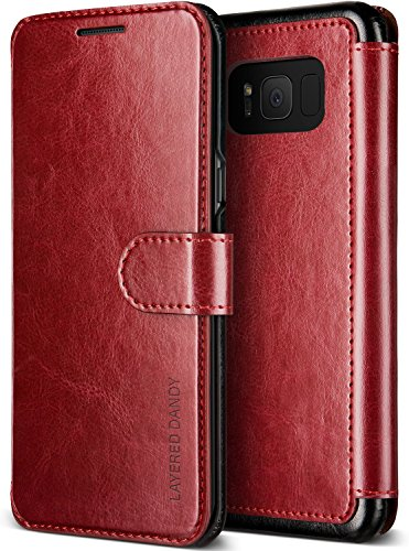 Galaxy S8 Plus Case, Premium PU Leather ID Card Slot Wallet Drop Protection Cover [Wireless Charging Compatible] for Samsung Galaxy S8 Plus 2017 by Lumion (Dandy Wallet - Red)