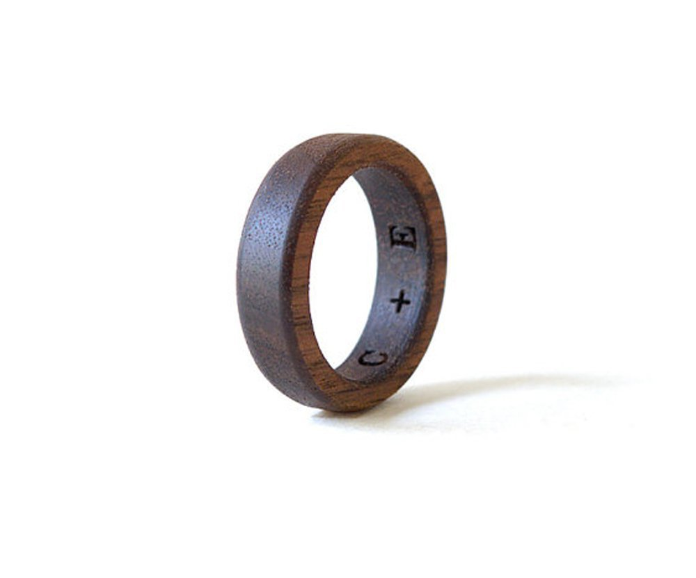 Amazon Walnut Wood Ring Wooden Natural Wedding Band Engagement Jewelry Men Personalized: Walnut Wood Wedding Rings At Websimilar.org