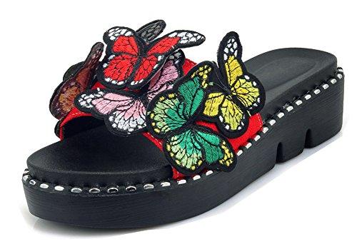 Femme Coloré Talon Mules Compensé Papillons Rouge Plateforme Aisun gqpdx5q