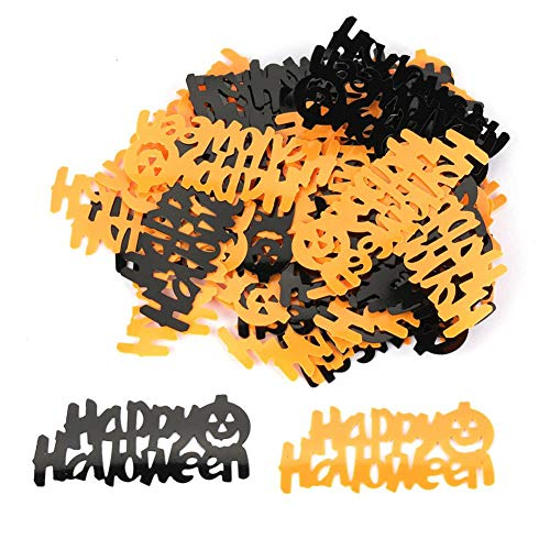 Aramox Halloween Confetti, Mixed Model Happy Halloween Letter Words Bright Spider Confetti for Halloween Party (#02) -