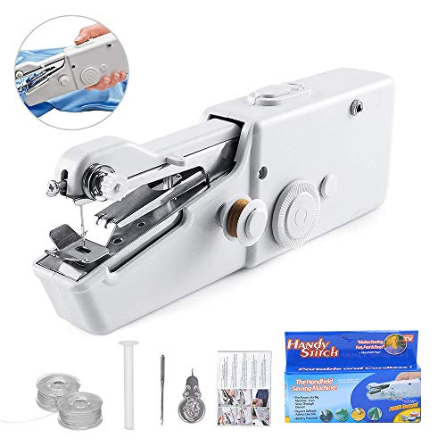 Portable Mini Electric Sewing Machine, Cordless Handheld Sewing Machine,Dual Speed Mending Machine Durable for Beginner Quick Handy Sewing Fabric Clothing