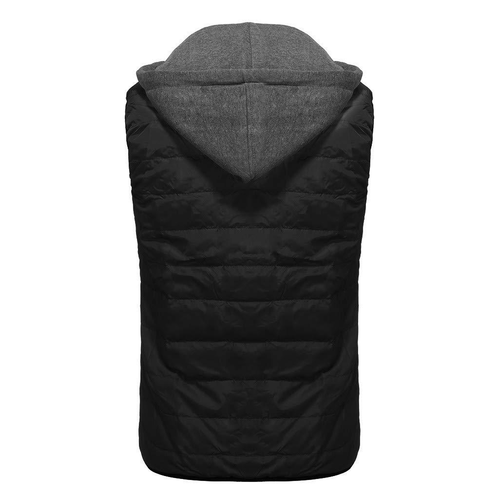 Feytuo Nouveau Mode Manteaux à Capuche pour Hommes Automne Hiver Zipper Veste Fashion Pure ColorTop Coat Épaissir Garder au Chaud Coton Bas Gilet Casual Manteau E- Noir