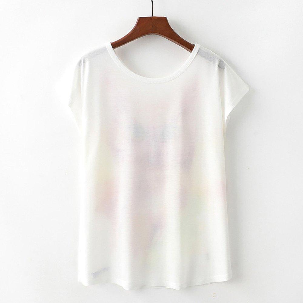 Moginp 2019 Women Tees Short Sleeve Shirt Summer Casual Owl Print Blouse Tank Tops