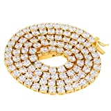 TRIPOD JEWELRY Iced Out STAINLESS STEEL Hip Hop Gold Lab Diamond 1 Row CZ Tennis Chain 8-26 Inches (18K Gold Plated 4MM, 26)