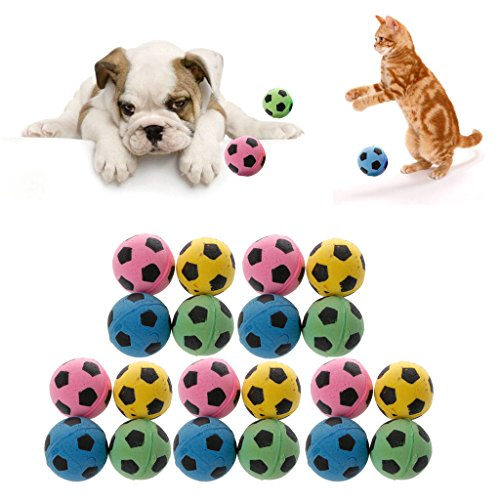 (Kocome 20PCS Non-Noise Cat EVA Ball Soft Foam Soccer Play Balls For Cat Scratching Toy)