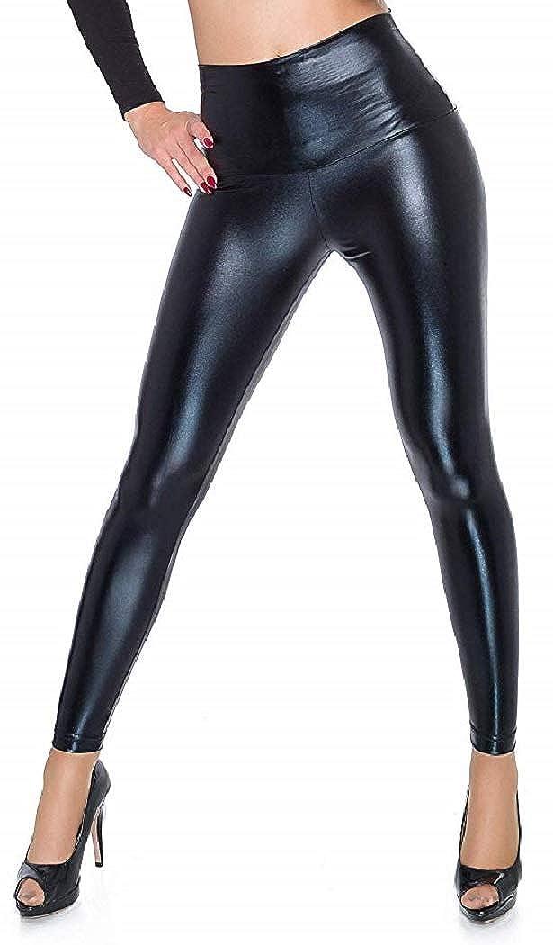 Crazy Girls Womens High Waist Multicolour Wetlook Metallic Legging Ladies Shiny Retro Disco Pant