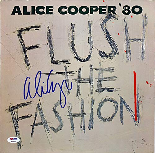 (Alice Cooper Autographed Signed Flush The Fashion Album Cover Vinyl - PSA/DNA Certified)