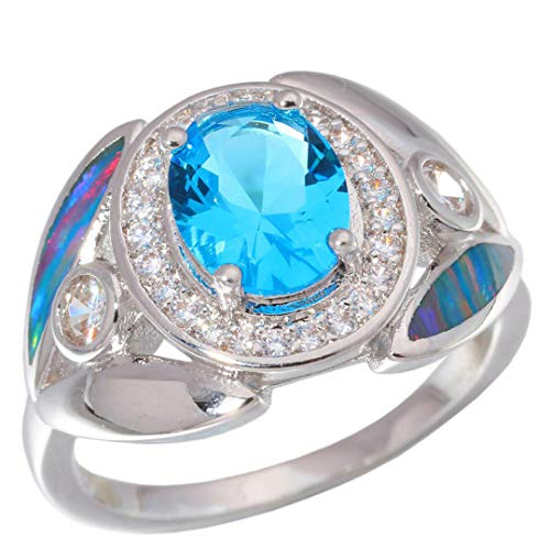 MARRLY.H Created Rainbow Fire Opal Blue Stone Cubic Zirconia Silver Plated for Women Jewelry Gift Ring Rainbow 9