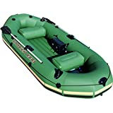 Bestway HydroForce Voyager 1000 Inflatable Jon Boat | Raft Includes Oars, Cushioned Seats, & Built-in Storage Compartment | Fits Up to 3 People