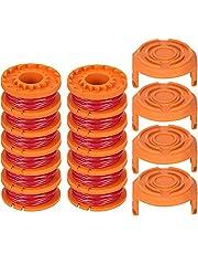 TOCYORIC 12 stuks grastrimmers draad voor alle 20 V Worx grastrimmers en 4 stuks trimmer spoel cap, duurzame reservedraad spoelen voor verbeterde snijsnelheid