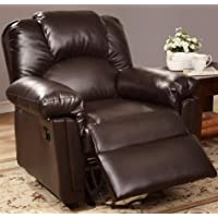 Poundex Bobkona Rocker Recliner in Bonded Leather, 36 L, Espresso