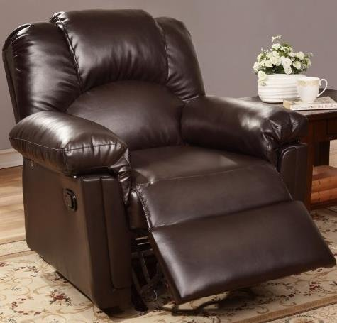 (Poundex PDEX-F6676 36'' Espresso Bobkona Rocker Recliner in Bonded Leather, Multicolor)