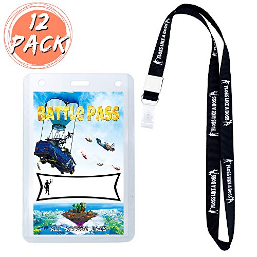 (Video Game Party Supplies Battle Pass Holder Party Favors ID Lanyards with ID Holder Birthday Battle Royale Party Supplies for Kids Game Theme with cards 12 Pack  )