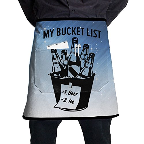 XiHuan Grill Aprons Kitchen Chef Bib Bucket List Beer & Ice Professional For BBQ Baking Cooking For Men Women Pockets ()