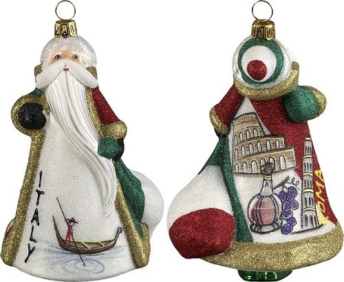 Italy Ornament (Italian Santa in Italy Polish Blown Glass Glitterazzi Christmas Ornament)