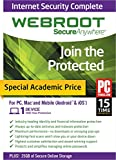 Software : Webroot Internet Security Complete 2015 - Academic Version 1 Device 1 Year
