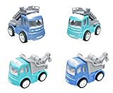 Play Vehicles Set, 4 Die-cast Metal Car Toys Pull Back and Go Friction Powered Construction Cars,Baby Toddler Toys for 2 Year olds Boys Girls