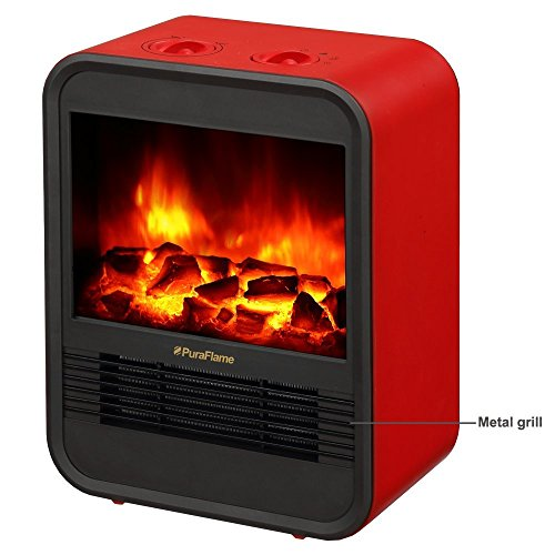 PuraFlame 1250W Clara Red 9 inch Mini Portable electric Heater, Red