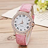 Quartz Watch For Women Wrist Watch With Crystal-set Bezel And Roman Numerals Comfortable Leather Band