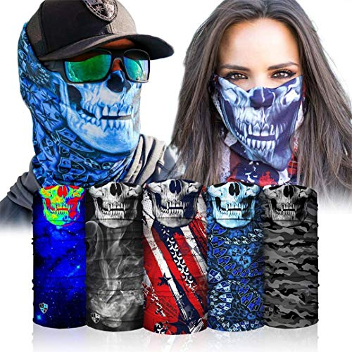 S A - UV Face Shield 5 Pack - Skull - Multipurpose Neck Gaiter, Balaclava, Elastic Face Mask for Men and Women