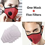 ZWZCYZ N99 Mask Anti Pollution Mask Washable Cotton Mouth Masks with Valve Replaceable Filter Masks Dust Air Mask for Pollution Smoke Allergy Mask with 5 Pcs PM2.5 Filter (Wine Red)