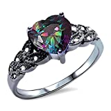 Solitaire Accent Heart Promise Ring Rainbow Cubic Zirconia Round CZ Black Gold Plated 925 Sterling Silver