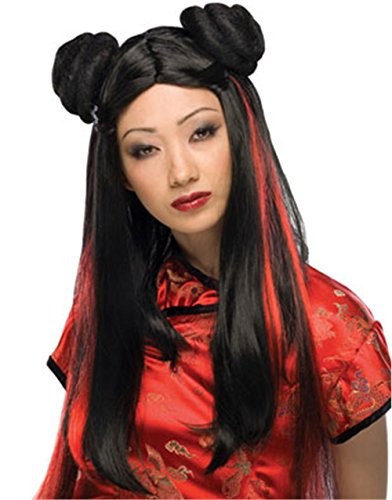 Geisha Wig Adult (Rubie's Costume Asian Lady Wig with Red Streaks, Black, One Size)