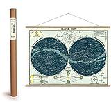 """Vintage Poster Set mit Holzleisten (Rahmen) und Schnur zum Aufhängen, Motiv """"Sternenkarte, Celestical chart"""""""