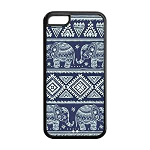Blue Elephants Aztec Protective Cover Case for iPhone 5C Designed by HnW Accessories