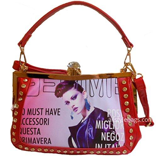LOEM Image Magazine bling red Clutch Rhinestone Shoulder Bag Handbag M Designer inspired