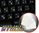 DVORAK SIMPLIFIED KEYBOARD STICKERS WITH YELLOW LETTERING TRANSPARENT BACKGROUND by 4Keyboard