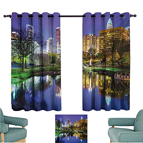 DONEECKL Printed Curtain City North Carolina Marshall Park United States American Night Reflections on Lake Photo Noise Reducing Curtain W55 xL63 Multicolor Carolina Printed Curtain Panels