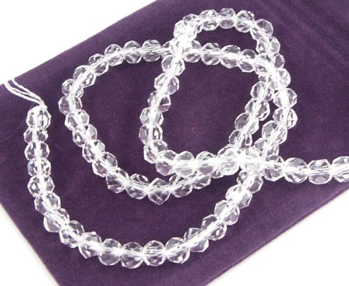 Clear Crystal Quartz Beads Faceted Round - 5mm to 6mm - 20 beads ()
