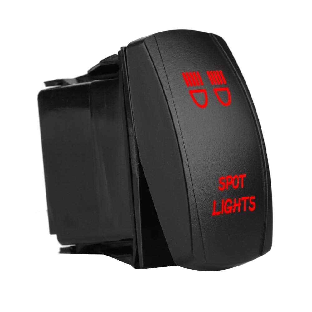 Wippschalter 12V 24V wasserdichter 5 Pin LED Lichtpunkt beleuchtet Kippschalter AN-AUS f/ür Auto Boots LKW Blue