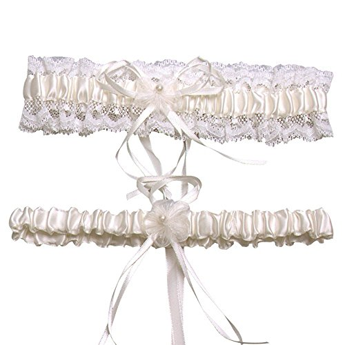 AugusWu Women Wedding Garters for Bride Lace with Ribbon 2 Pcs Sets Ivory