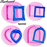 Star-Trade-Inc - 4pcs/set Heart Classical Vintage Mirror Frame Silicone Mold Fondant Cake Mould Cupcake Mold Chocolate C111