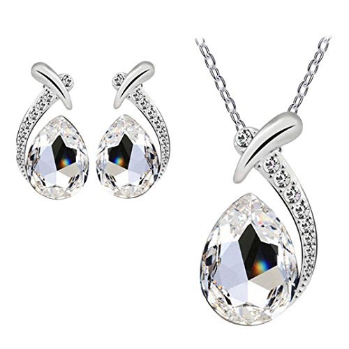 Rhinestone Bling series Yuaboz.H Women Silver Plated Chain Necklace Stud Earring Jewelry Set (White) (Lariat Set Earrings)