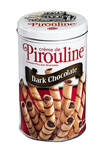 Creme Wafer Cookies (Pirouline Rolled Wafers, Crème filled Dark Chocolate 14oz tin (pack of 6))