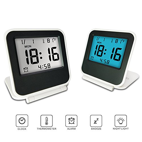 Travel Clock, KRASR Digital Alarm Clock, Portable Battery Operated Desk Clock with Calendar & Temperature White