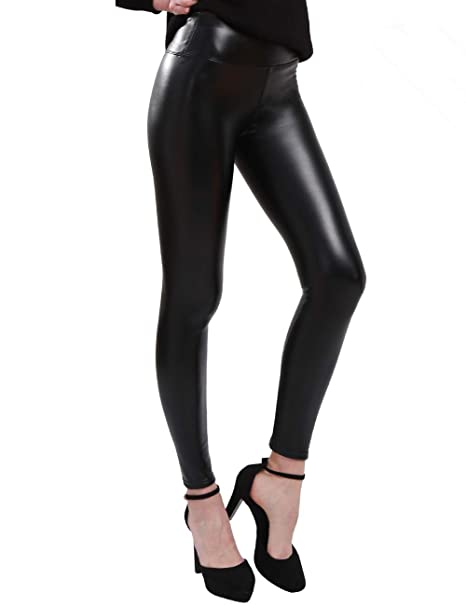 a2e9c52c2a0 Astra Signature Women s Plus Size Sexy High Waisted PU Leather Leggings  Trousers (14W