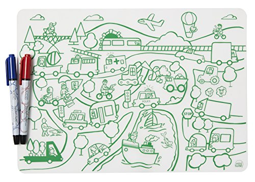 Twist Mat - modern-twist Transportation Pattern Coloring Placemat with 2 Easy to Wipe Off Dry-Erase Markers, Waterproof Silicone Washable for Kids