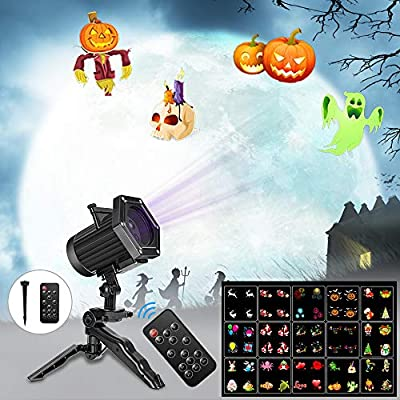 Comkes Christmas Projector Lights, 15 Patterns LED Projector Lights Waterproof Dynamic Outdoor Christmas Lights Spotlights Decoration for Christmas, Halloween,New Year,Outdoor/Indoor Use