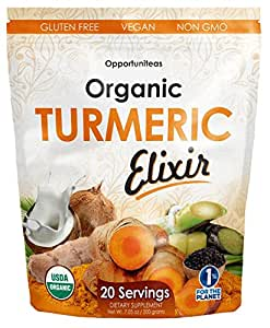Organic Golden Milk Turmeric Elixir - Discover An Ancient Secret, The Easy Way For Natural Joint Support - Curcumin Supplement Drink Mix For Smoothie, Shake, Juice, Tea - Non GMO, Vegan & Gluten Free