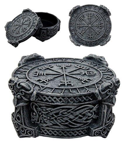 Designer Resin Statue -  Ebros Norse Mythology Thor Mjolnir Hammer Vegviser Magical Talisman Compass Jewelry Trinket Box Figurine 5
