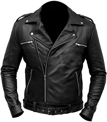 LP-FACON Negan Jacket Jeffrey Dean Morgan Walking Dead Black Leather Outerwear (Small)