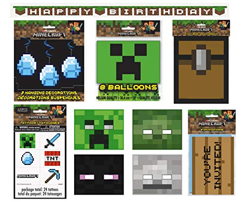 Unique Minecraft Party Favors & Decorations Bundle - Officially Licensed Birthday Party Supplies Minecraft Invitations, Masks, Tattoos, Loot Bags, Banner, Balloons & Hanging Swirls -