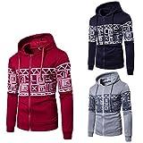 AMSKY Men's Full-Zip Sweatshirt, Slim Fit Lightweight Long Sleeve Printed Cotton Hoodie Hooded Sweatshirt Top Blouse for Boy (2XL, Red)