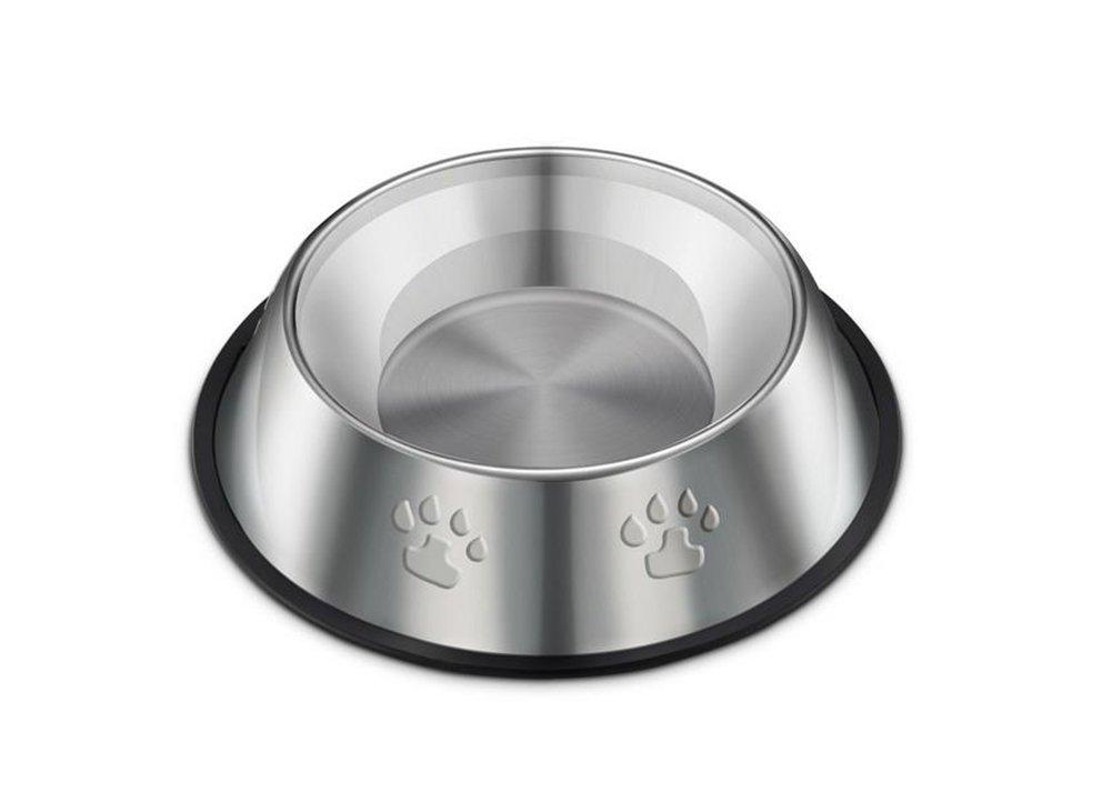 Cdet 26cm Tazón de acero inoxidable rayado cuenco tigre antideslizante animal de compañía suministra la cuenca del alimento para perros