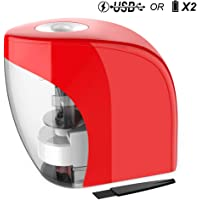 Link Dream Electric Pencil Sharpener Automatic Sharpener for No.2 Pencils and Colored Pencils (6-8mm) with Auto Stop Feature & Extra Cleaning Brush USB Battery 2 in 1 (Red)